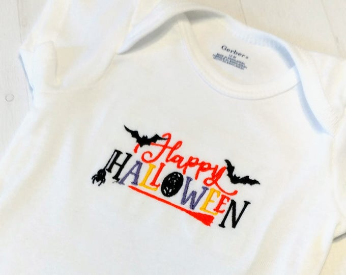 Happy Halloween with bats and multi color text embroidered t shirt for girls- Halloween top for boys and girls- tops for toddlers