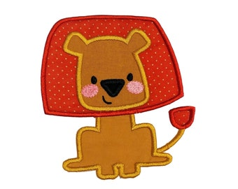 Golden yellow and burnt orange boxy lion woodland animal machine embroidered  iron on patch for kids clothing, quick shipping appliques