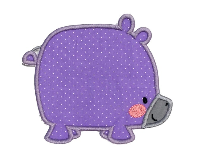 Soft purple boxy Hippo zoo animal machine embroidered  iron on patch for kids clothing, quick shipping appliques