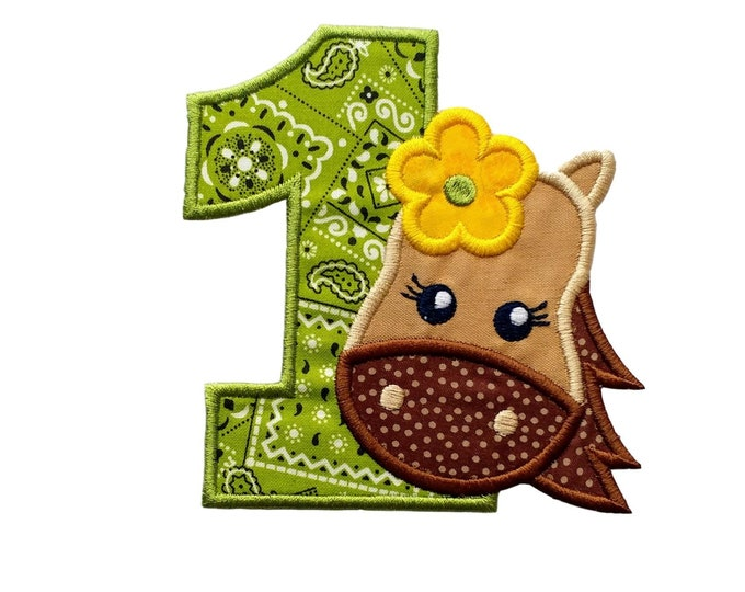 """Girl Horse numbers 1-2 iron on patch- 4.75"""" Green Bandanna Number- Personalizeable ***Ships in 72 Hrs***"""