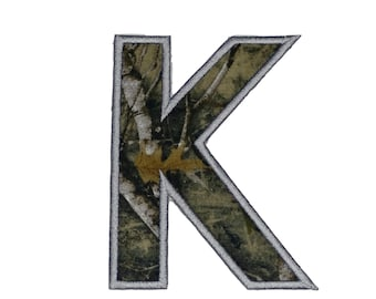 Woodland camo iron on letters A-Z - 4.75 inch Machine embroidered fabric alphabet- quick shipping