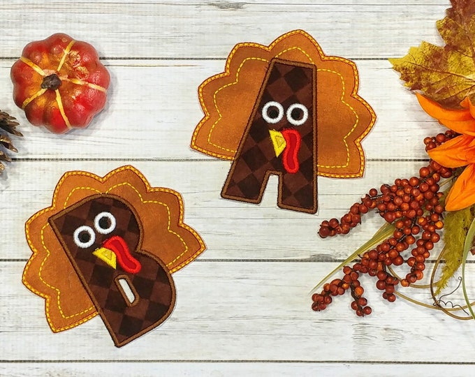 Turkey shaped alphabet A-Z iron on patch- quick shipping- 5 inch Thanksgiving theme turkey ready to ship embroidered applique