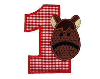 "Horse numbers 1-4  iron on patch- 5.25"" Red Gingham Number- Personalizeable ***Ships in 72 Hrs***"