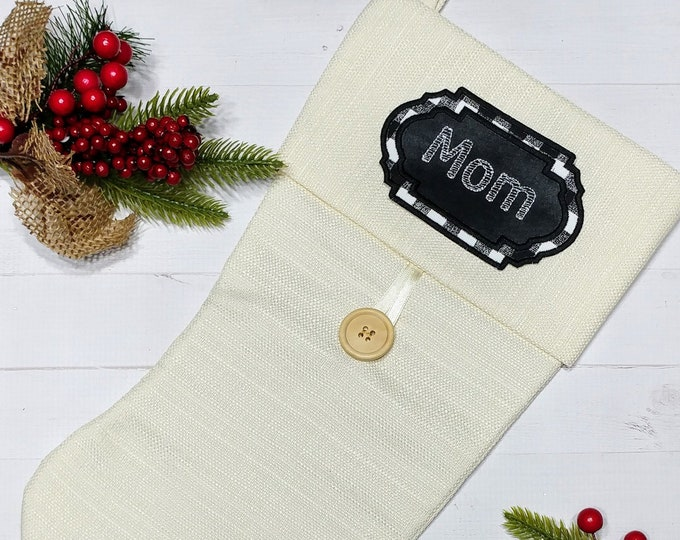 """Personalized Christmas Stocking Name Patch-4.75"""" Black and white plaid applique ***Ships in 72 hours***"""