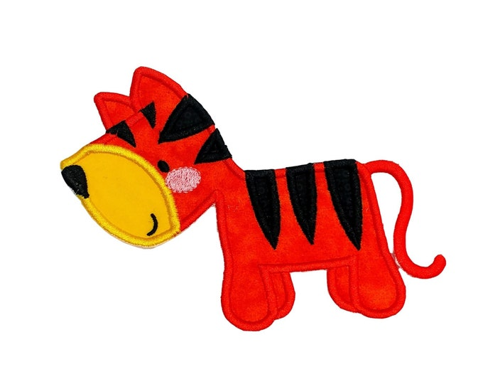 Orange boxy tiger zoo animal machine embroidered heat press iron on patch for kids clothing, quick shipping appliques