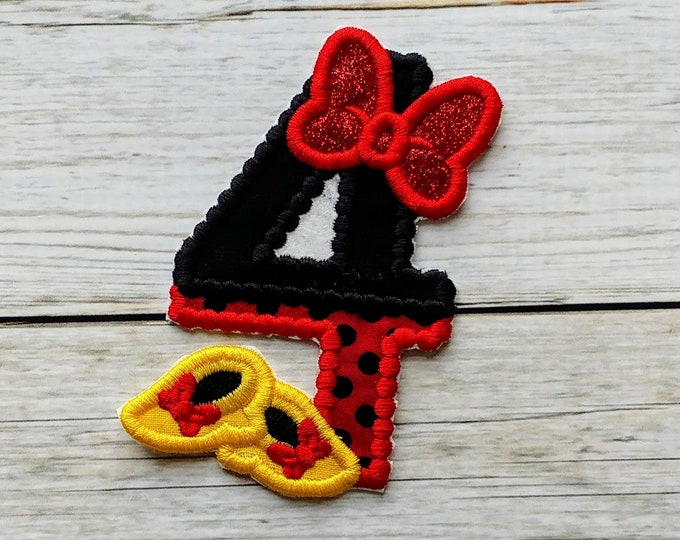 """Minnie Mouse inspired iron on number 4 applique- Small 3.75"""" H x 2.75"""" W patch- *** Fast shipping***"""