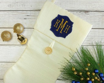 """Personalized  Iron-on Monogram Patch- 3.5"""" Navy and Gold  *** Ships in 72hrs***"""