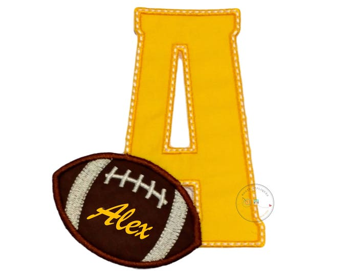 Yellow monogram letter with  football iron on applique