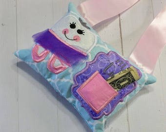 Ballerina Tooth fairy pocket pillow for girls with keepsake tooth chart, personalize with child's name, gift for girls