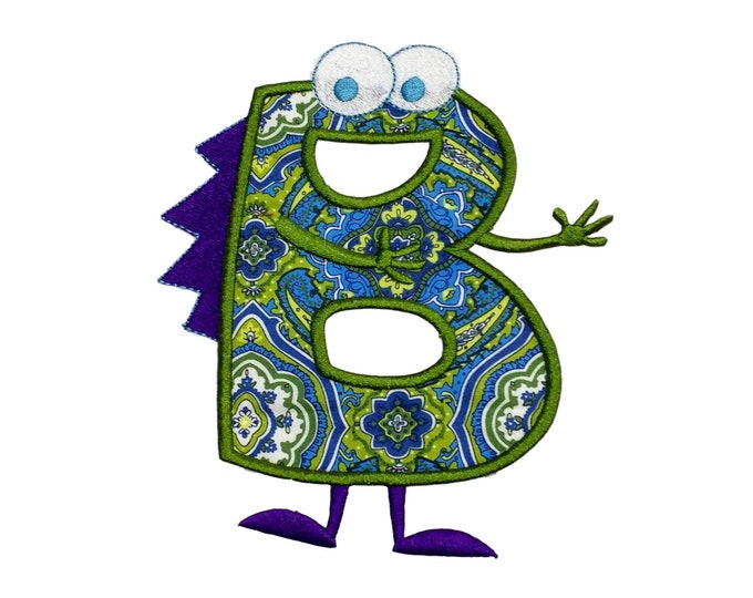 Monster letter B applique, initial embroidered patch, iron on applique letter for kids, iron on letter embellishment, iron on monogram patch