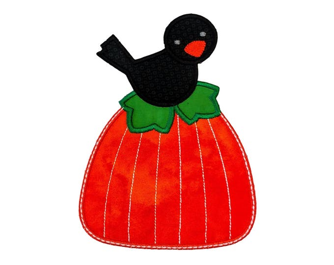 Small Black Bird on bright orange pumpkin iron on applique- Fall pumpkin and crow fabric patch- ready to ship