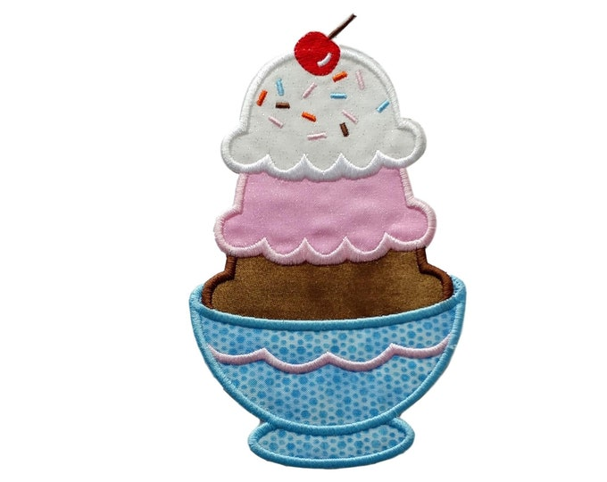 """Iron on stacked ice cream Sunday applique- 6.75"""" Personalize with a name *** Ships in 72 hours***"""