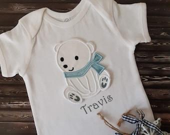 white blue black Gray red aqua pink Baby bear cotton and vinyl unisex baby onesiebodysuit Custom colors.