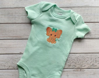 Sweet elephant embroidered baby body suite
