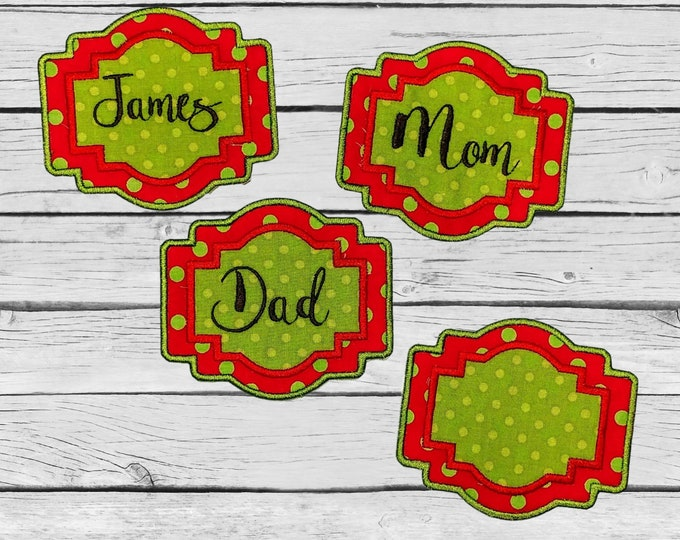"Personalized Christmas Stocking Iron on Name Tag- 4"" Green and Red Holiday monogram applique"