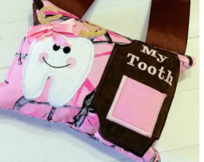Pink rea ltree camo with a doe tooth  fairy pocket pillow gift for girls- pink and brown