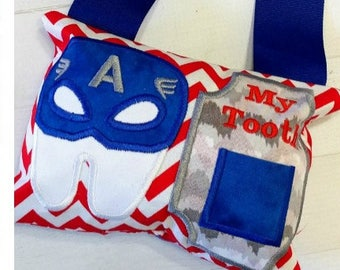 Captain America Super Hero tooth themed fairy pocket pillow, gift for kids, gift under 25