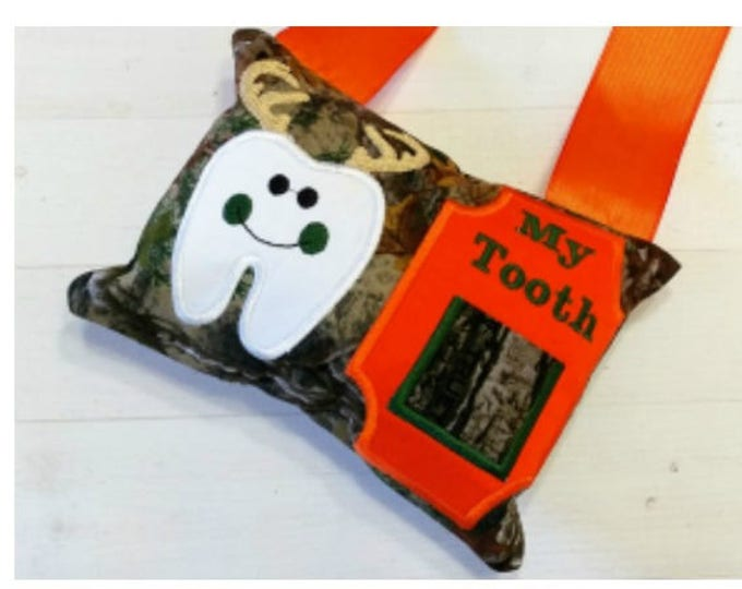 Boy Realtree camo with a doe tooth themed fairy pocket pillow- orange and brown