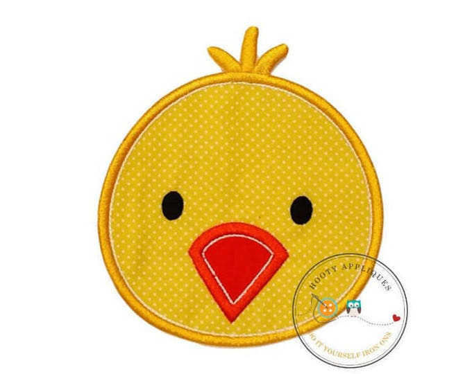 Bright yellow chick iron on patch,  Easter chick machine embroidered heat press patch for clothing, quick shipping appliques
