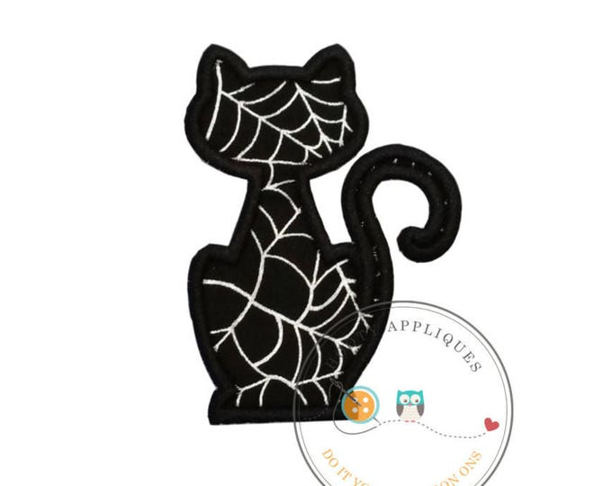 Black cat silhouette with silver metallic web pattern fabric iron on applique-Halloween black cat fabric no sew patch- ready to ship