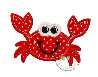 Happy Crab iron on patch,  little beach crab machine embroidered heat press patch for clothing, quick shipping appliques