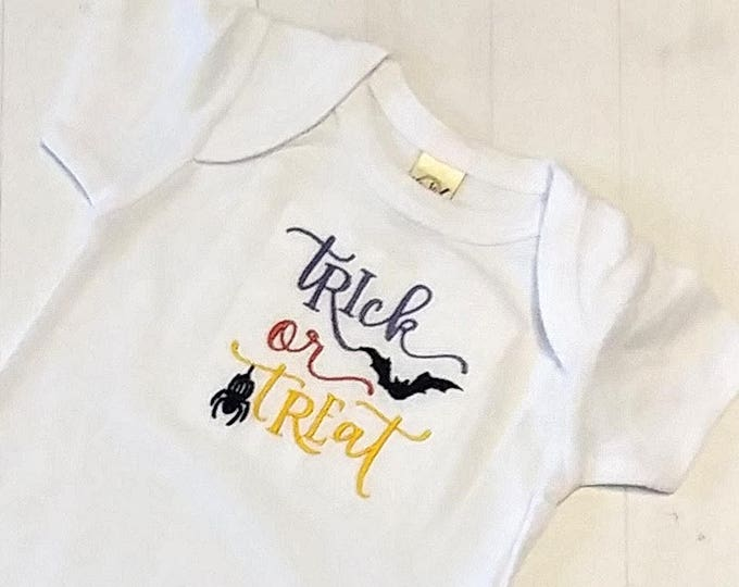 Trick or treat embroidered t shirt for girls- Halloween top girls- tops for toddlers