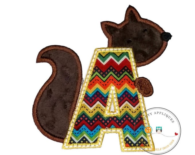 Woodland squirrel alphabet letter, Embroidered fabric letter A-Z iron on patch, earth tone monogram A with plush mink brown squirrel