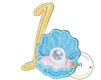 Clam shell with pearl birthday number 1 iron on path, embroidered fabric applique for kids clothing, under the sea first birthday patch