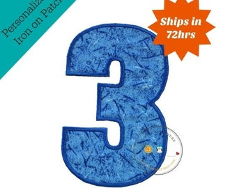 ON SALE Large blue number 3- iron embroidered fabric applique patch embellishment- ready to ship