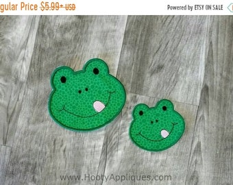 ON SALE Green frog face iron on applique, reptile iron on patch,  ready to ship