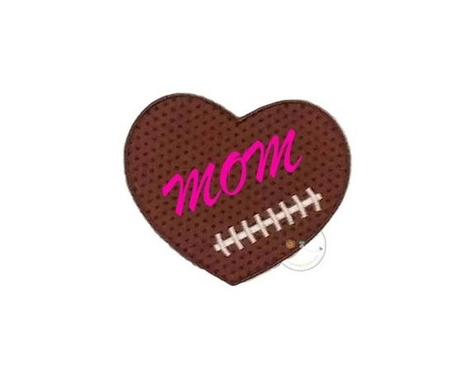 LIQUIDATION SALE Football  heart iron on applique, Fall sports no sew patch , Machine embroidered football fabric applique