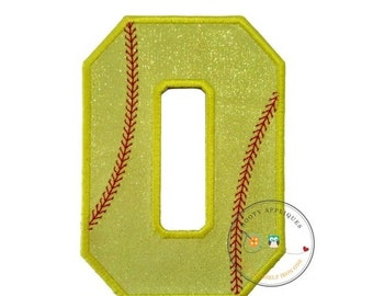 On Sale NOW Neon yellow glitter softball iron on applique number 0, bright glitter embroidered iron on patch, number zero yellow softball nu