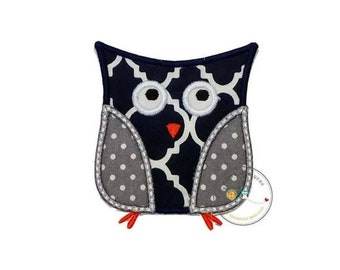 LIQUIDATION SALE Navy and gray owl iron on patch,  owl machine embroidered heat press patch for clothing, quick shipping appliques