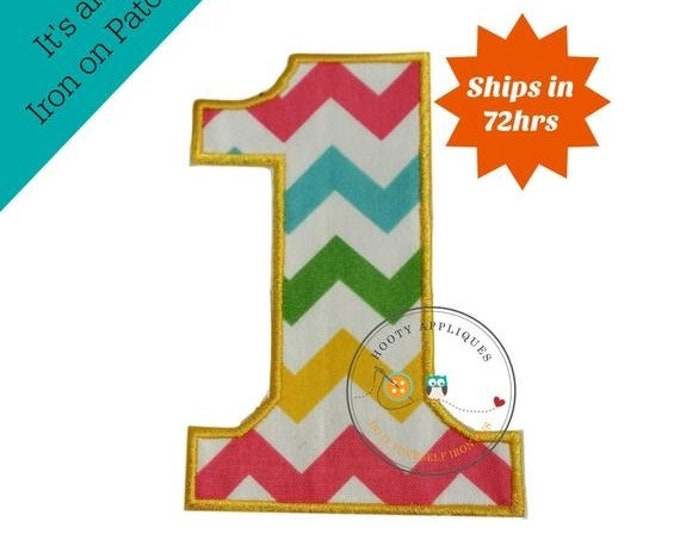 LIQUIDATION SALE Large teal, yellow, green and pink chevron  number 1- iron embroidered fabric applique patch embellishment- ready to ship