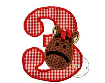 On Sale NOW Farm animal birthday, number three, 3, brown horse, ready to ship, girl, red, white, barn yard party, iron on, applique, patch,