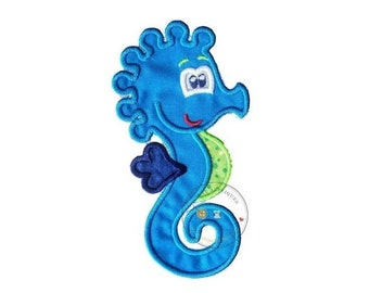 LIQUIDATION SALE Summer seahorse in bright blue, green and navy iron on applique, nautical summer no sew patch ready to ship