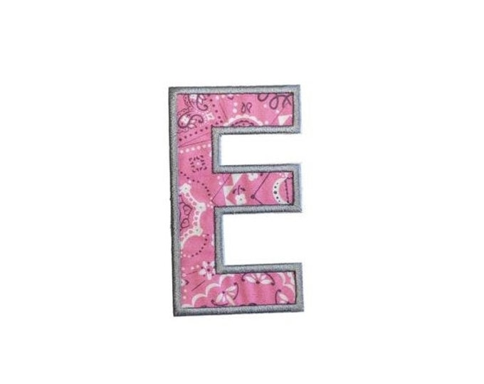 LIQUIDATION SALE Pink bandanna iron on letters A-Z - 4.75 inch Machine embroidered fabric alphabet- quick shipping