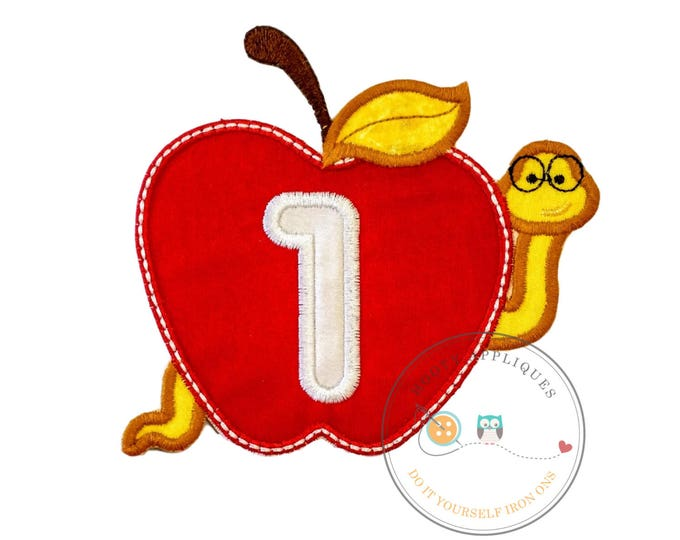 Large number one apple with bookworm  - Iron embroidered fabric applique patch