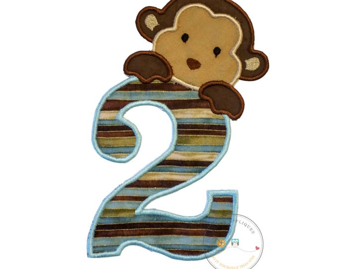 Peek-a-boo monkey birthday number 2 iron on applique-light blue, brown and tan no sew machine embroidery patch-DIY boutique fashions