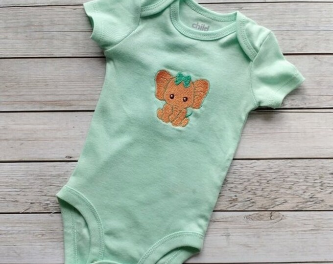 LIQUIDATION SALE Sweet elephant embroidered baby body suite