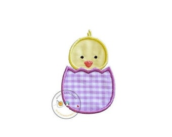 LIQUIDATION SALE Easter baby chick in light purple gingham egg iron on applique, machine embroidered no sew patch for kids clothing, jackets