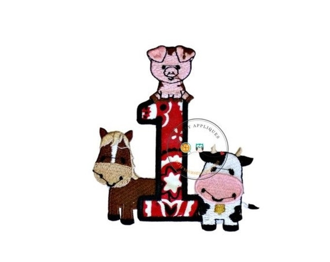 LIQUIDATION SALE Iron on Bandanna number one farm animal applique- Red or Pink Bandanna- *** Fast shipping***