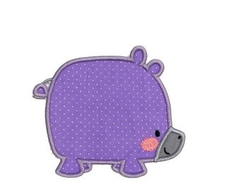 ON SALE Soft purple boxy Hippo zoo animal machine embroidered  iron on patch for kids clothing, quick shipping appliques