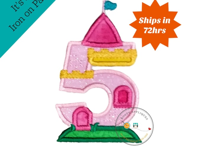 Princess castle birthday number five machine embroidered patch, fast shipping iron on girl birthday applique, Pink and yellow number 5