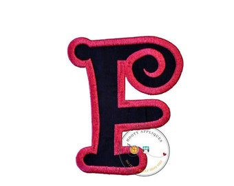 On Sale NOW Chunky curls letter F iron on applique, Girls nautical monogram, iron on initial F, Blue and pink monogram letter F, Ready to sh