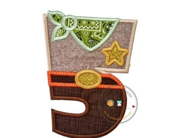 LIQUIDATION SALE Sheriff birthday number five iron on applique, Embroidered western fifth birthday patch, Wild west 5th birthday themed part