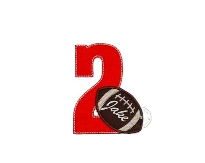 Orange birthday number with  football iron on applique