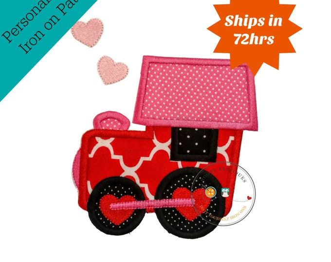 Love train valentine's day holiday fabric iron on applique- DIY- Ready to ship- Pre-made, Embellishment Junkies