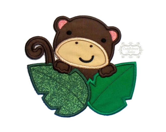 Curiouse jungle monkey iron on applique, brown boy embroidered monkey fabric iron on patch, personalizable boy jungle monkey with leaves