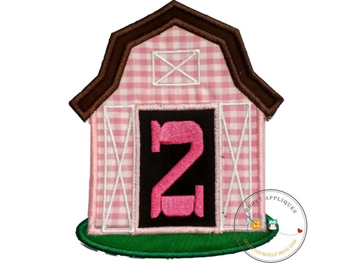 Pink barn birthday number two iron on applique, Farm yard birthday number 2 embroidered patch, country first birthday iron on, ready to ship